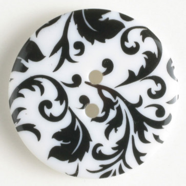 Button Scroll #1 25MM Black & White