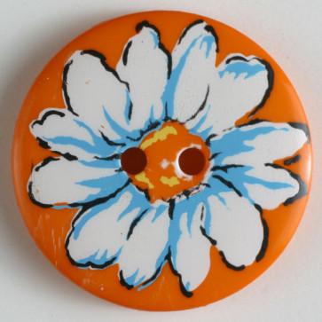 Dill button 34mm round orange/daisy