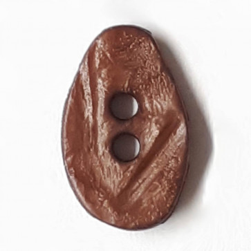 melon seed button with 2 holes - Size: 10mm - Color: brown