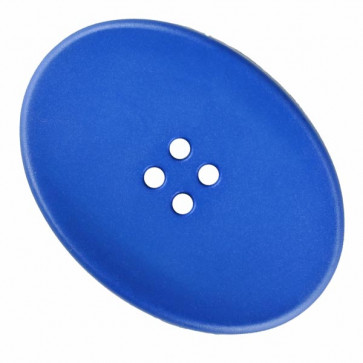 polyamide button oval with four holes - Size: 38mm - Color: blue