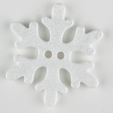 snowflake, 2 holes - Size: 20mm - Color: white
