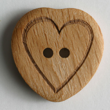 wood button - Size: 15mm - Color: brown