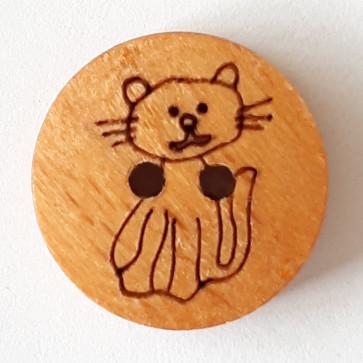 Buttons - Wooden Cat 18mm #261289