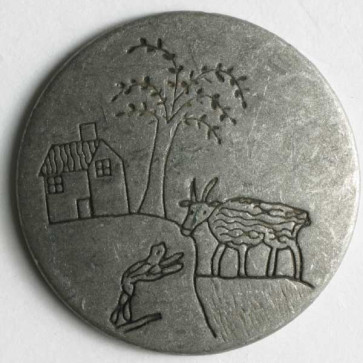 Dill Buttons 300585  20mm   silver palm tree