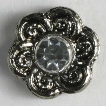gunmetal flower rhinestone button
