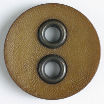 Dill Buttons Large Round Leather Brown
