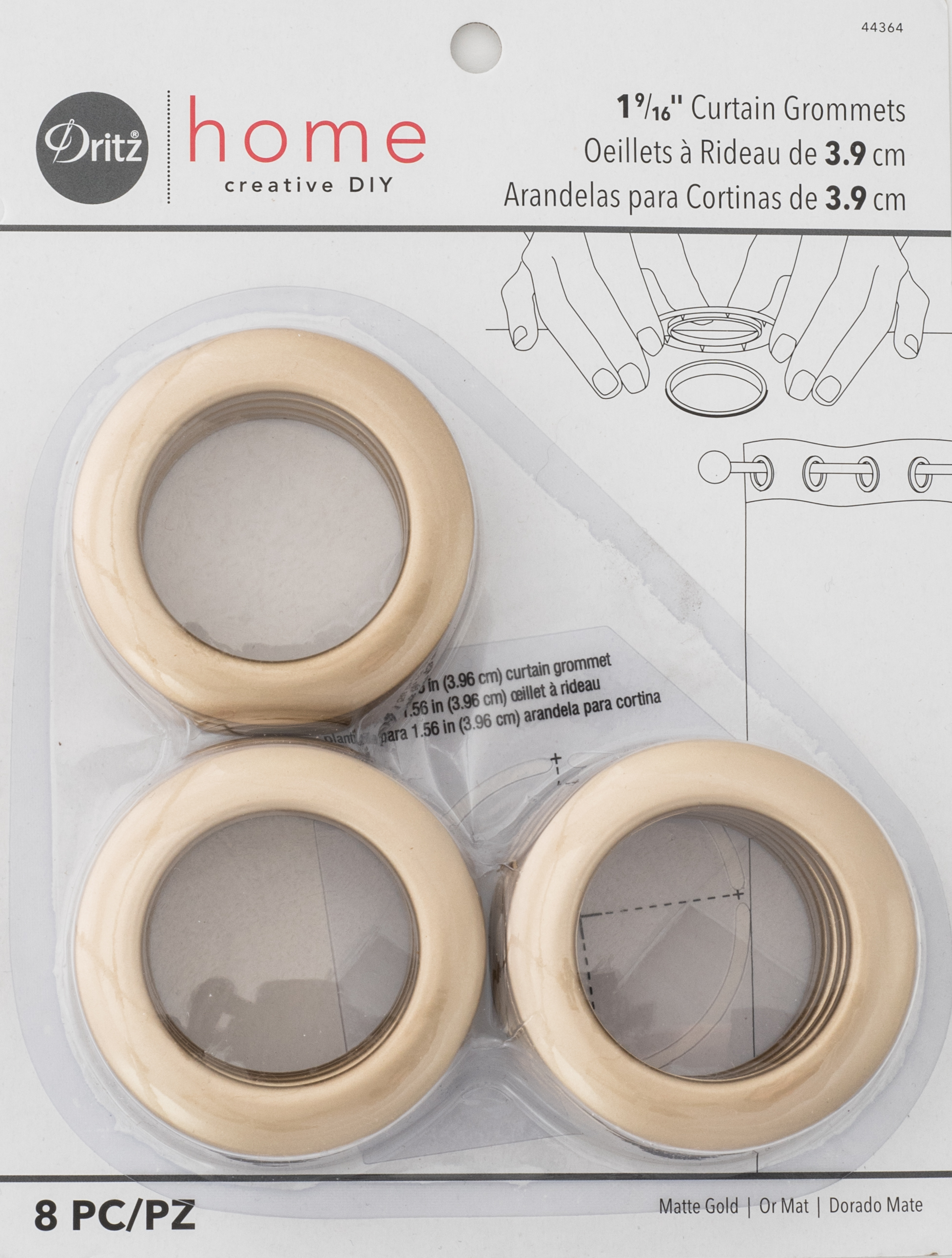 Curtain Grommets Matte Gold 1-9/16