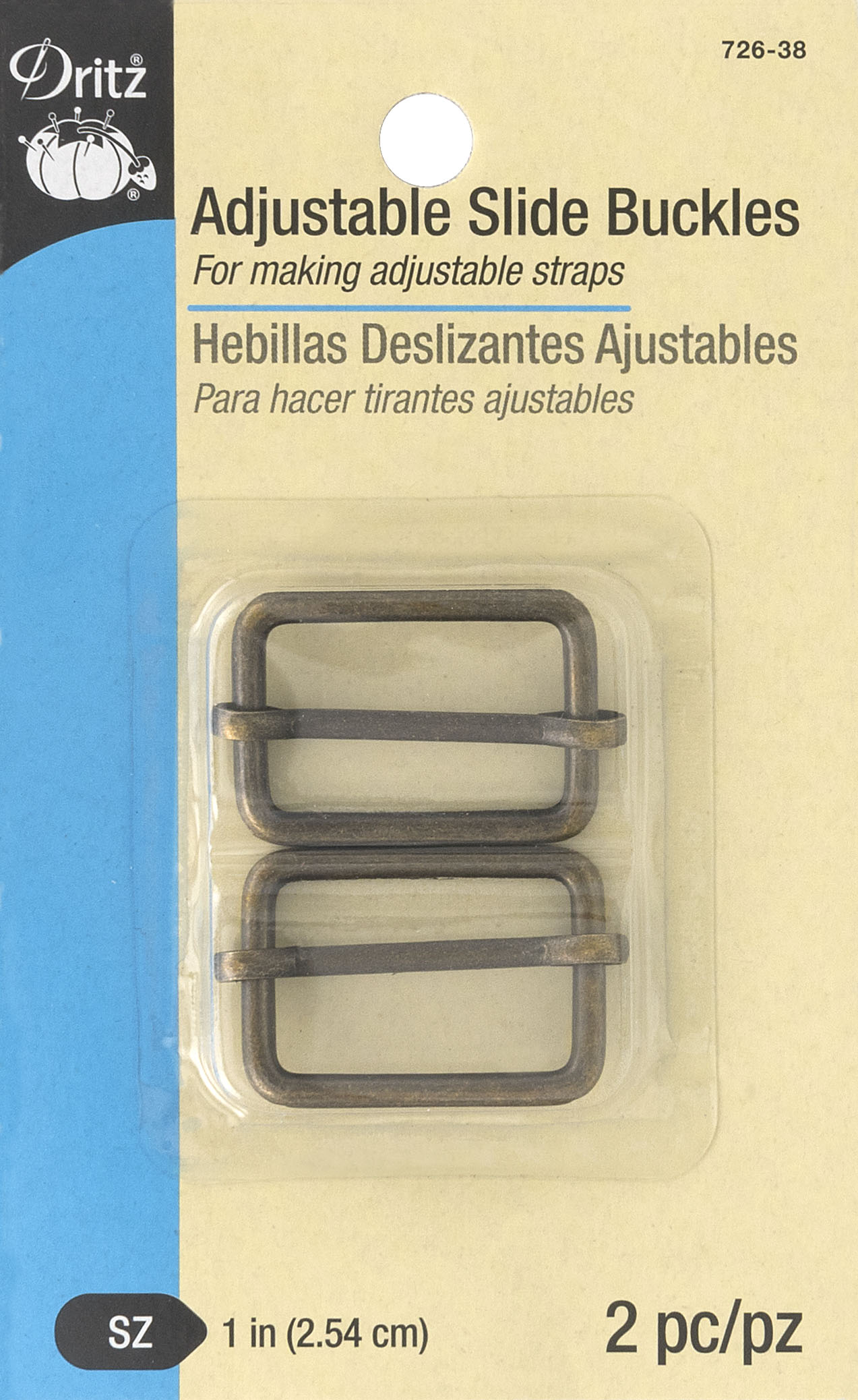 Adjustable Slide Buckles, antique brass-726-38