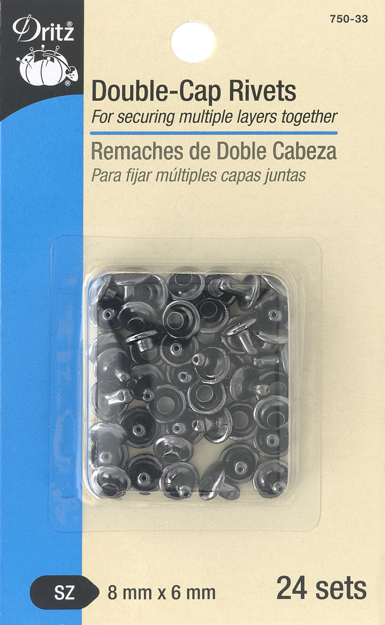 Double-Cap Rivets Gunmetal-750-33