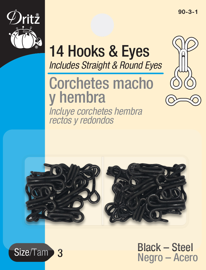 Hooks & Eyes - Size 3, Black Steel
