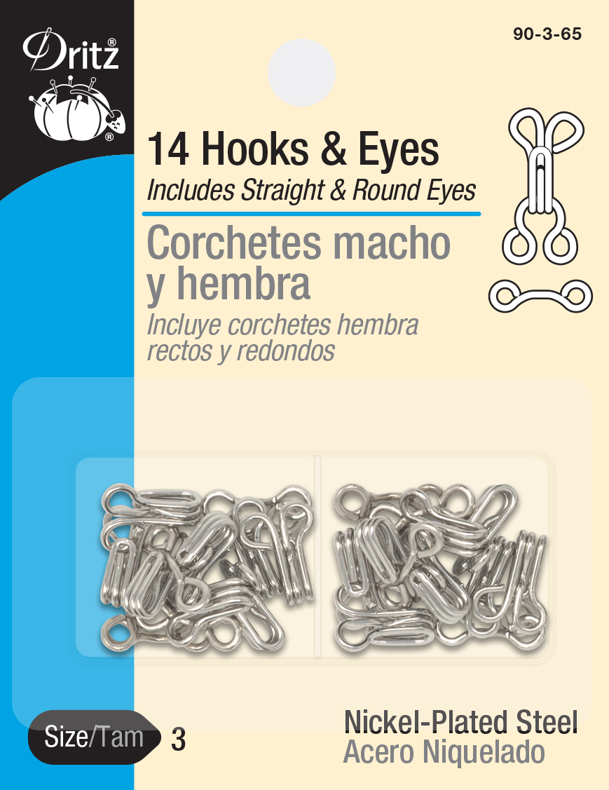 Hooks /& Eyes Size 0 14//Pkg-Nickel