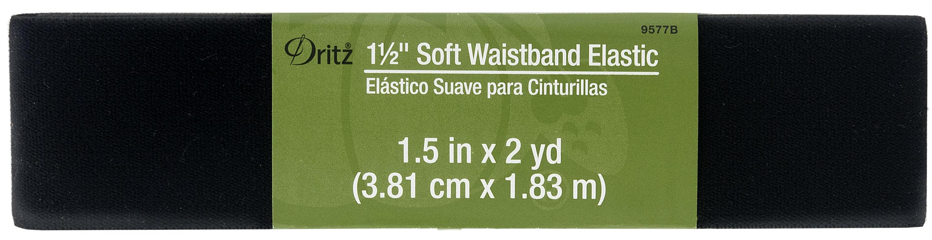 1 1/2 Inch Soft Waistband Elastic - Black