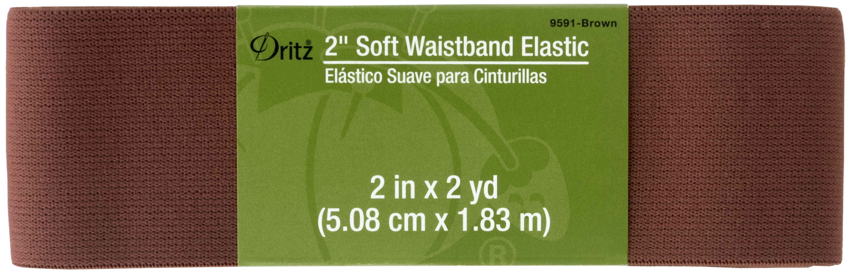 2in x 2yd Soft Waistband Elastic Brown