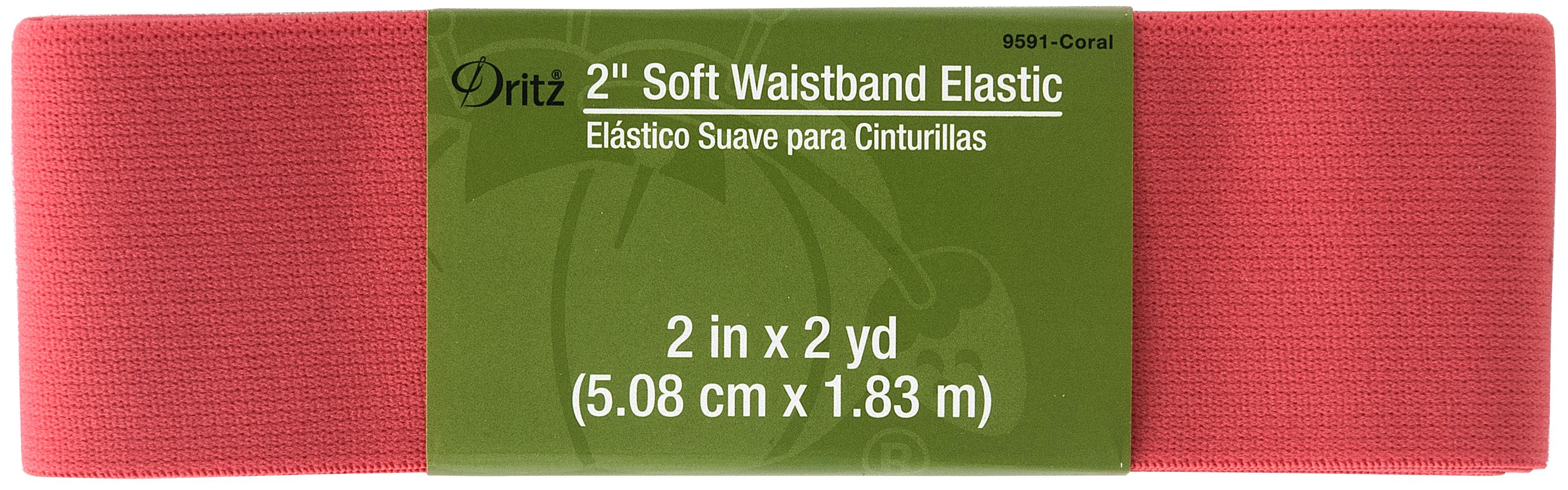 Soft Waistband Elastic - 2 x 2yds - Coral