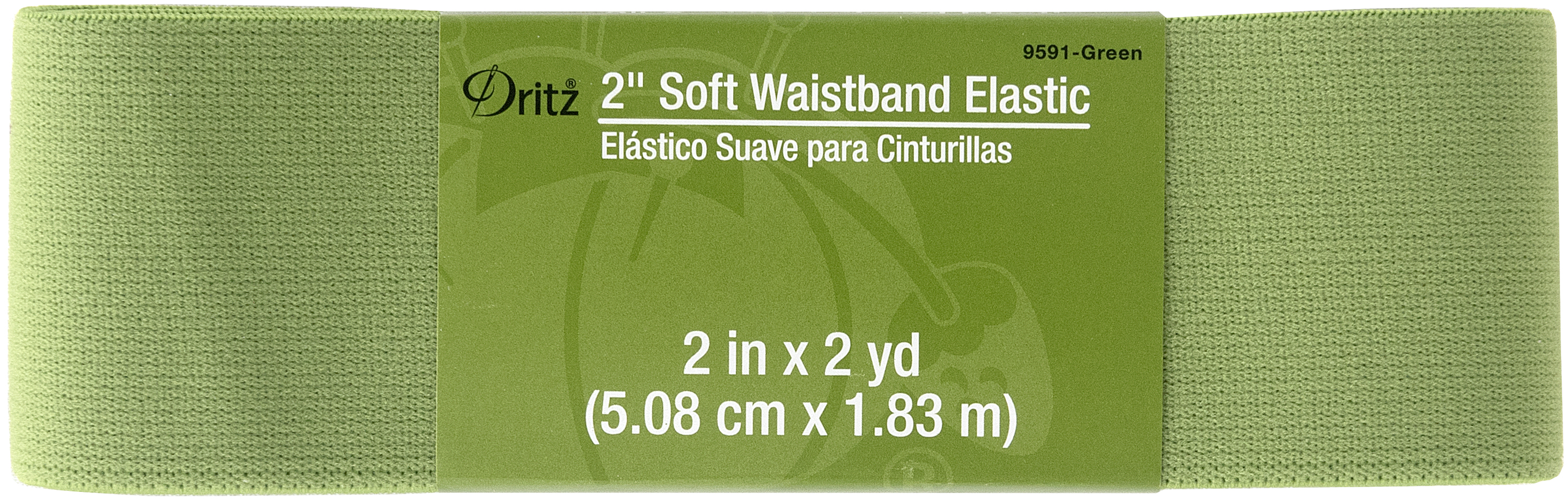 2in x 2yd Soft Waistband Elastic Green