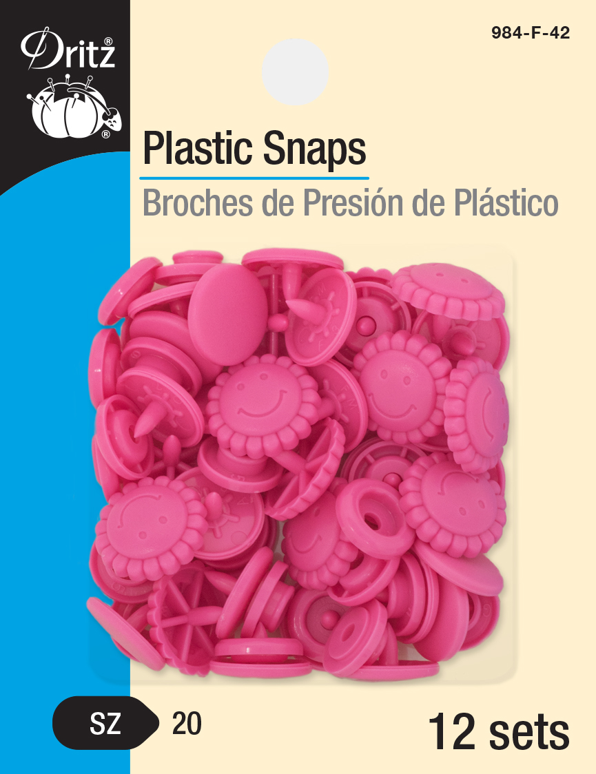 Plastic Snaps -- Size 20 Flower Smiley Face (Hot Pink)