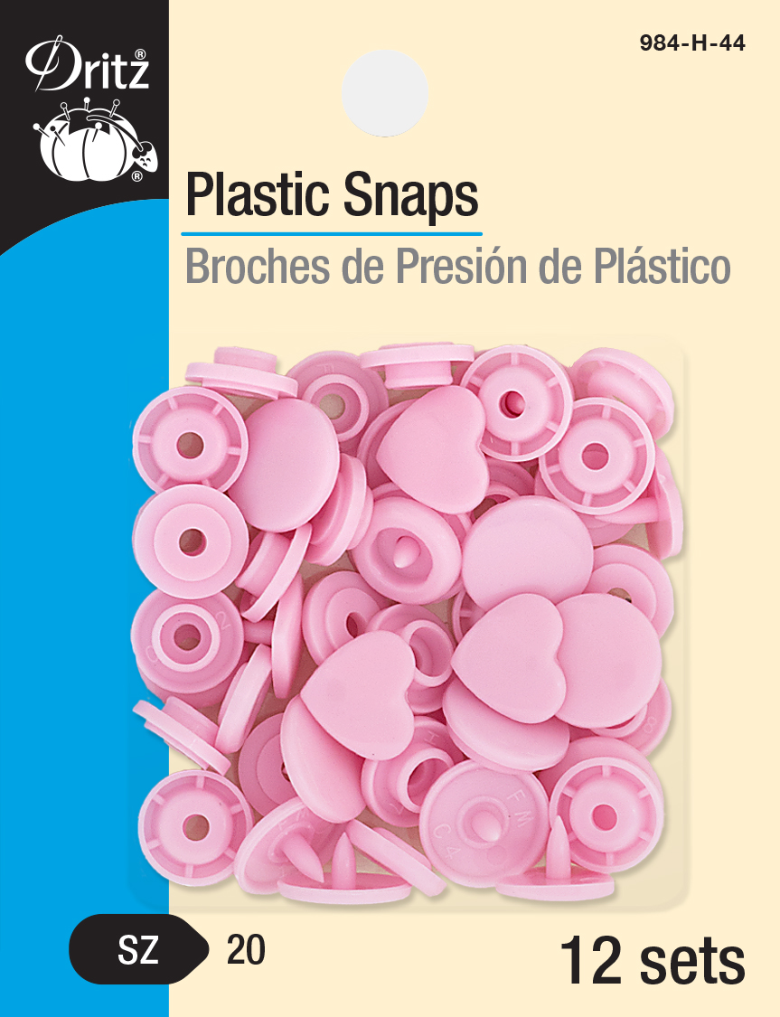 Plastic Snaps -- Size 20 Heart (Pink)