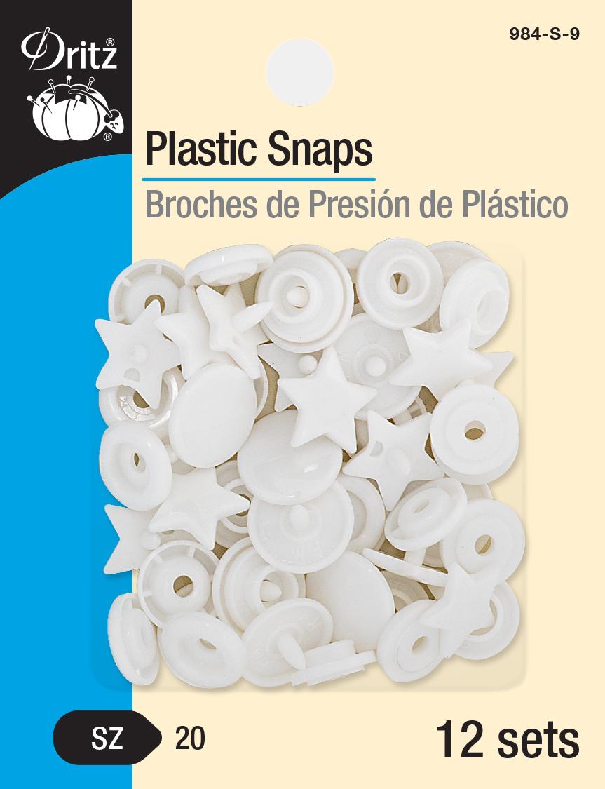 Plastic Snaps -- Size 20 Star (White)
