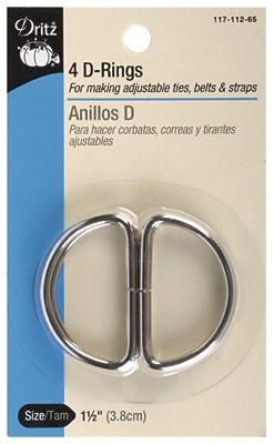 Dritz D-Rings 1-1/2 Nickel