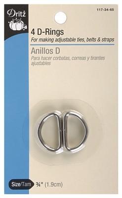 D Ring 3/4  Nickel 4 pc