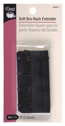 Soft Bra-Back Extender - 3 wide, 4 hooks, Black