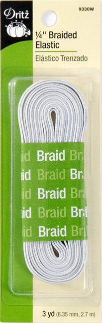 Elastic Braided  WHITE 1/4 Inch 9330W