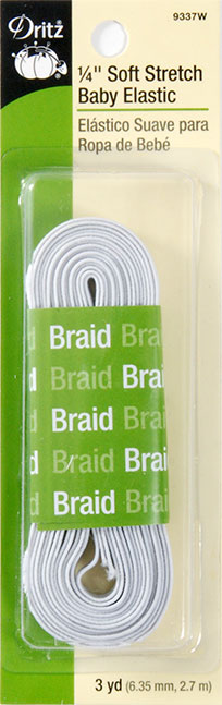 Dritz- Braided Elastic 1/4 inch x 3yd (White)