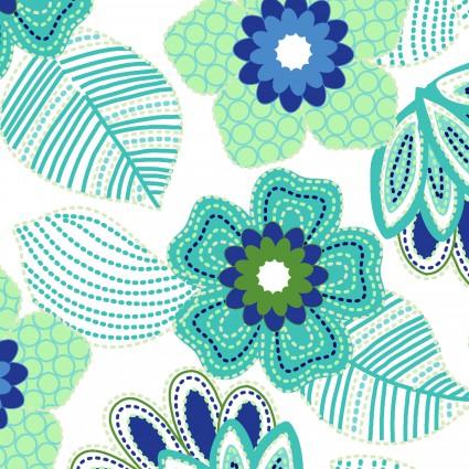 Carnivale Blue Stitched Floral White Fabric Yardage 12626-W