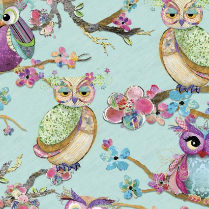 Connie Haley - Boho Owls - Owls on Mint