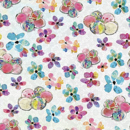 Boho Owls Scattered Flower on white