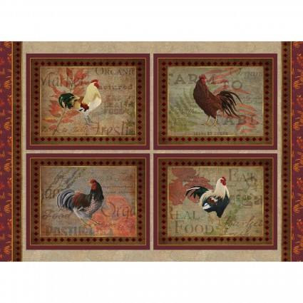 Rustic Roosters Panel