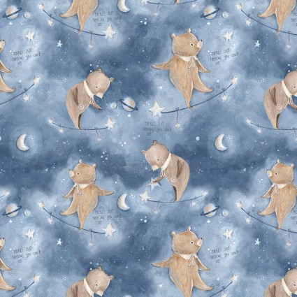 Adventures in the Sky - Balancing Bears, Blue -  by Bianca Pozzi for 3 wishes