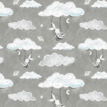 Bunny Swinging from Cloud on Gray and White with a touch of Aqua:  Adventures in the Sky by Bianca Pozzi for 3 Wishes Fabric