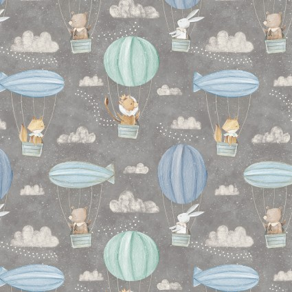 Adventures in the Sky - Hot Air Balloons, Gray by Bianca Pozzi for 3 wishes