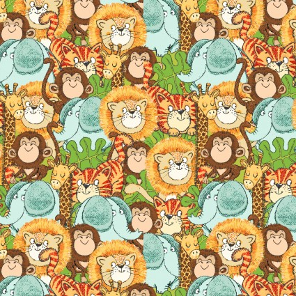 Playful Cuties 4 Flannel Packed Animals Multi 14926-MULTI