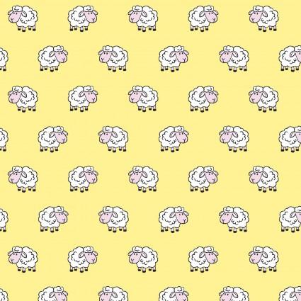 Playful Cuties 4 Flannel Sheep Yellow 14981-YELLOW