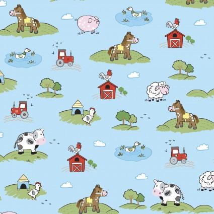 Playful Cuties 4 Flannel Meadow Blue 14982-BLUE