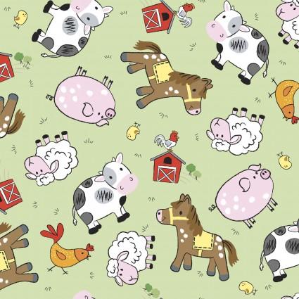 Playful Cuties 4 Flannel Barnyard Green 14984-GREEN