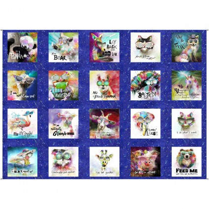 Sassier Animals Panel 30in x 43in with 20 Squares 15990-BLU