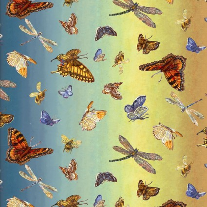 Butterfly Ombre:  Spirit Of Flight by Josephine Wall for 3 Wishes Fabric