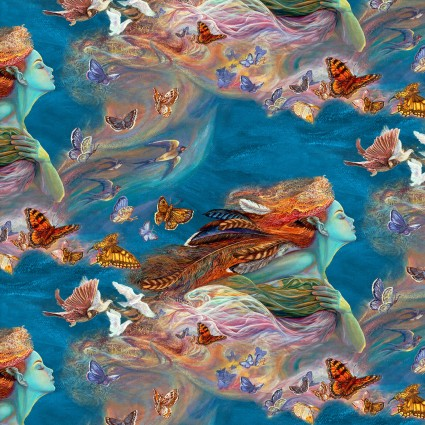 Woman, Birds, Butterflies, and Feathers in Flight on Blue:  Spirit Of Flight by Josephine Wall for 3 Wishes Fabric