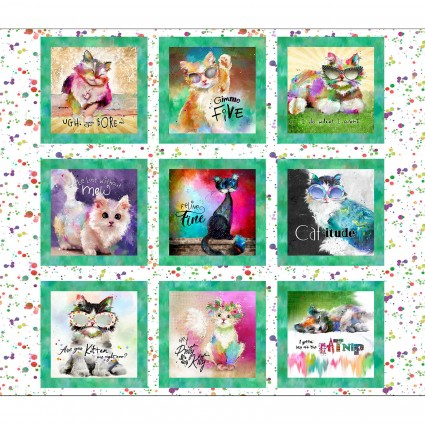 3 Wishes Fabric - Good Kitty 9 BLK Panel - 16541-WHT - A-27