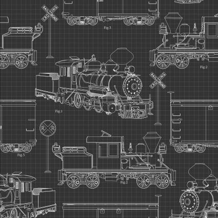 Autumn Steam Train Draft Sketch