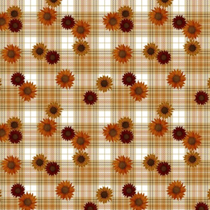 Cream Plaid Floral - Harvest Campers - 3 Wishes Fabric - 3WI16635-CRM-CTN-D