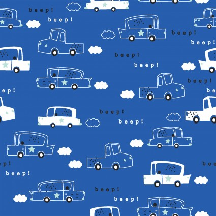 Drivers Wanted - Zoom Zoom*Flannel* - By Micheal Moon For 3 Wishes Fabric