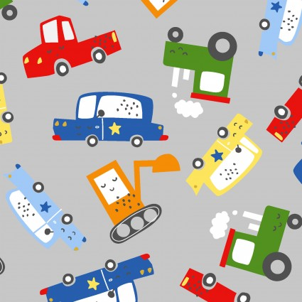 Drivers Wanted - Traffic Jam*Flannel* - By Micheal Moon For 3 Wishes Fabric