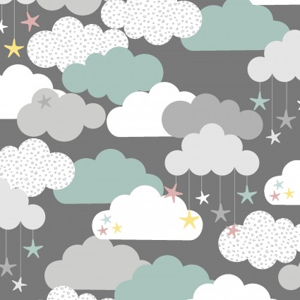 Flannel Small and Mighty Clouds & Stars on Grey by 3 Wishes