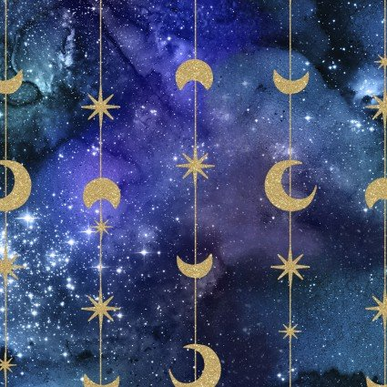 Magical Galaxy Moon & Stars Metallic by 3 Wishes