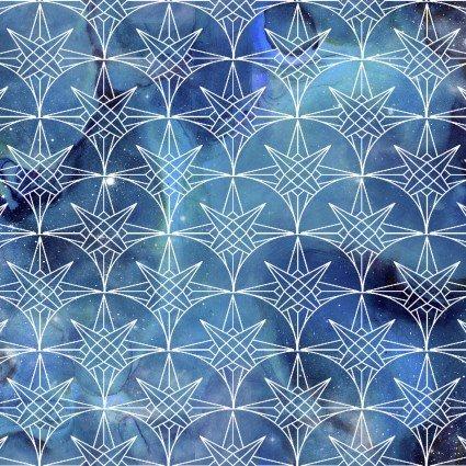 Magical Galaxy - Nautical Twilight*Metallic* - By 3 Wishes Fabric