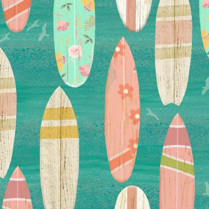 Pre-Order - Beach Travel - Surf Boards - Turquoise